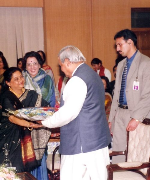 Vaswati Receiving Bouqet from then Honourable Prime Minister Shri Atal Bihari Vajpayee (Medium)